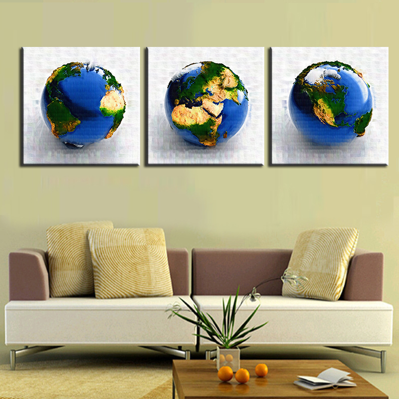 Abstract 3D Earth Hot Sell 3 Panels Pieces Modern Wall Painting ...