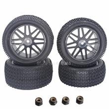 4 Unids RC Neumáticos De Caucho y Plástico Rueda Llantas Hex Hub 12mm Para 1/10 Escala Nitro Off Road Buggy Eléctrico Delantero/Trasero Neumáticos 2wd 4wd