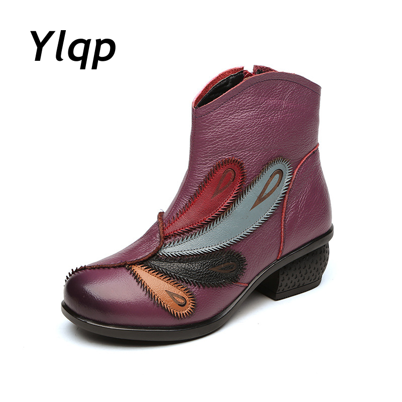 2017 New Arrival Vintage Women Boots Genuine Leather High Heels Shoes Ladies Casual Retro Martin Ankle Boots