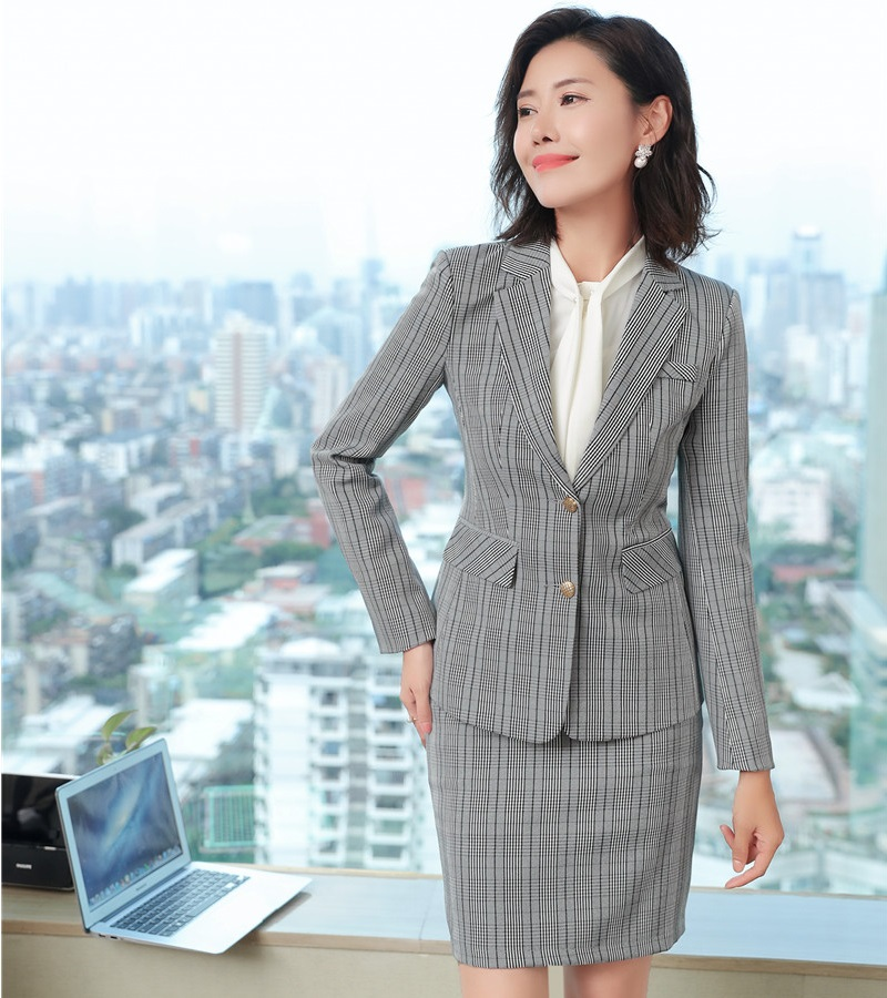 Formal Business Suits With Jackets And Skirt Sets For Ladies Office Work Wear Uniforms Designs Autumn and Winter Blazers Grid
