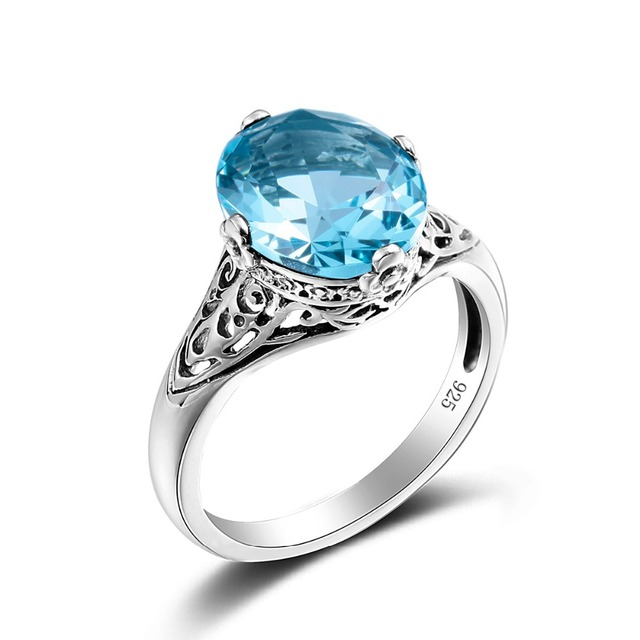 Kpop Forever Love Ring Antique Style Blue Crystal Jewelry Genuine 925 Sterling Silver Jewelry Engagement Rings for Women anillos
