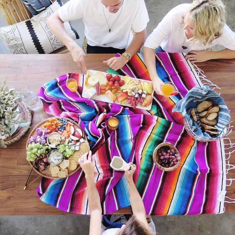 waterproof Beach Blanket mat Outdoor Portable travel Picnic barbecue camping Ground mats cotton Mexican handmade rainbow blanket in Blankets from Home Garden