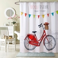 Bicicleta estilo minimalista Moda decoração de Casa de Banho Cortina cortina de chuveiro de Poliéster de Alta Qualidade com 12 Ganchos