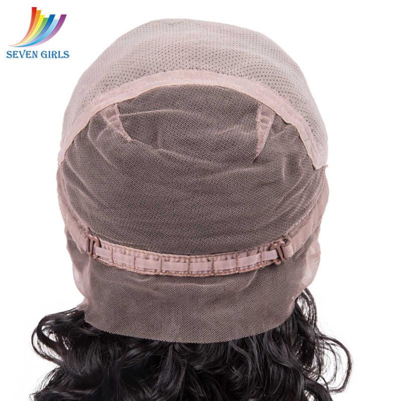 Sevengirls Бразильские влажные и волнистые предварительно выщипанные полные парики шнурка натуральный цвет ананас волна девственные человеческие волосы парики Бесплатная доставка