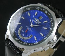 Fashion Blue Dial Date Mens Automatic Mechanical Watch