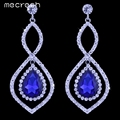 Mecresh Blue Color Crystal Silver Plated Women Jewelry Bridal Wedding Accessories Long Drop Earrings EH436