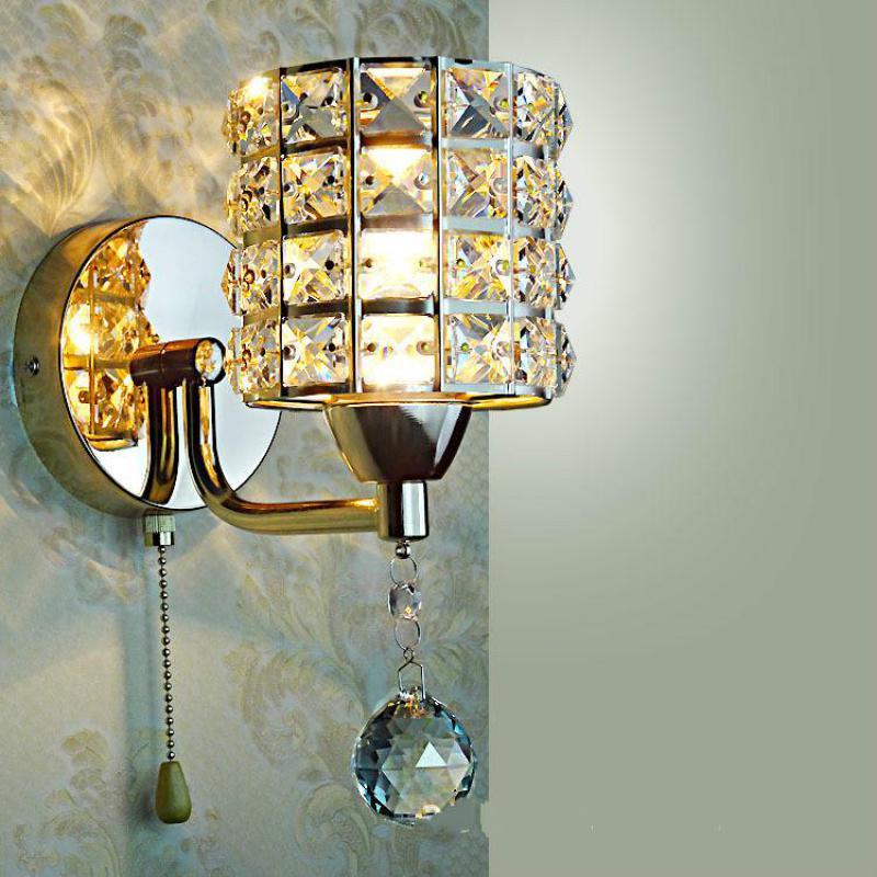 AC85-265V catena di tirare interruttore lampada da parete di cristallo luci Moderne Della Chiusura Lampo di Base In Acciaio Inox illuminazione Sconce applique da Parete Ha Condotto La Lampada