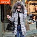 Mais mulheres do tamanho casaco de inverno 2016 de moda de nova senhora de algodão-acolchoado casacos magro feminino clothing gola de pele parkas longo casacos m42