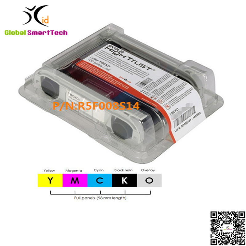 Evolis R5F008S14 YMCKO ribbon cassette 300 prints 5 panels for Zenius Primacy id card printer ribbon idp smart 650664 siadc p r red ribbon use for smart id card printer ribbon