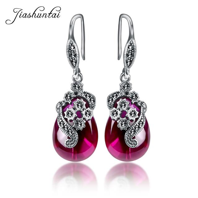 JIASHUNTAI Retro 100% 925 Sterling Silver Earrings For Women Vintage Natural Chalcedony Garnet Ruby Earrings Jewelry Female