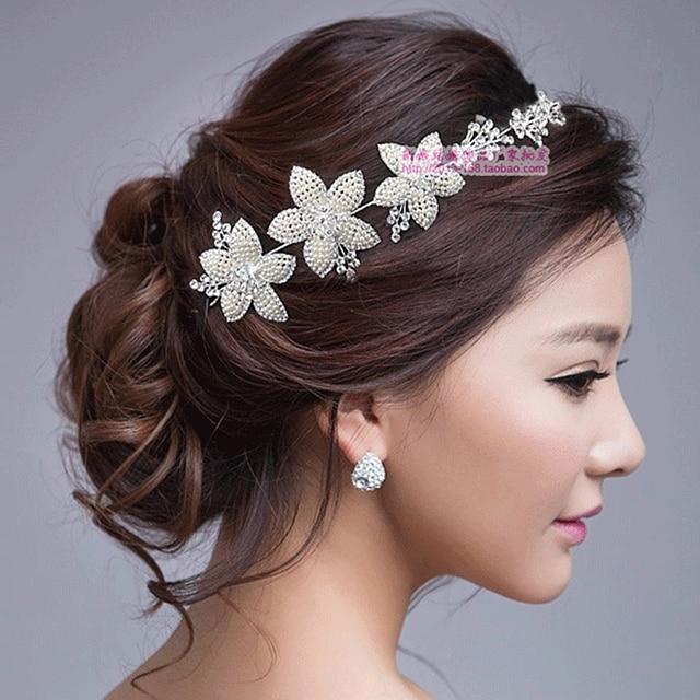 Fashion Female Silver Pearl Beaded Bride Hair Accessory Necklace Rhinestone Marriage Wedding Dress Jewelry Earrings Bridal Set