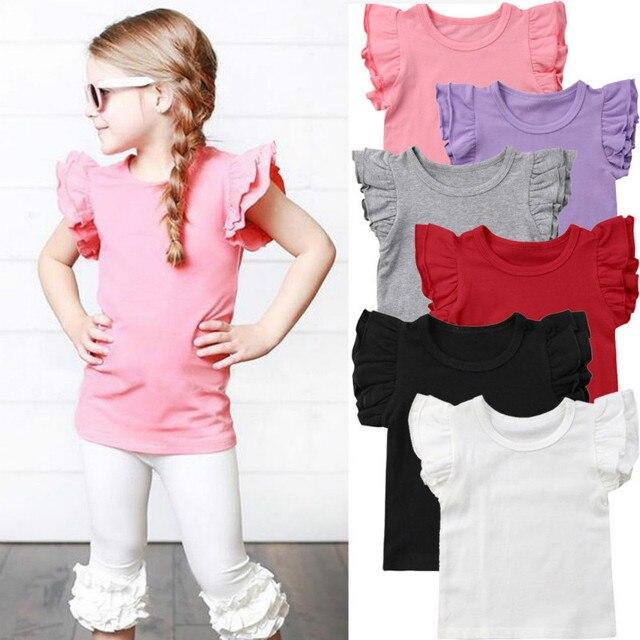 חמוד יילוד פעוטות ילדי תינוקת בגדי לטוס שרוול מוצק צבע כותנה חולצה טי חולצה תלבושות קיץ בגדים