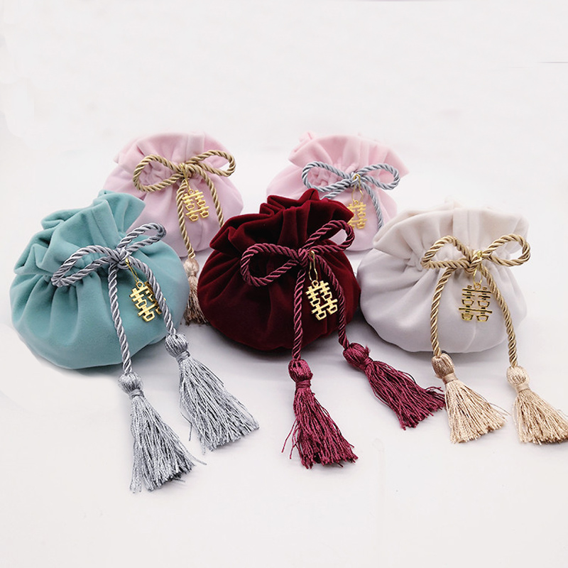 Pink White Round Bottom With Tassel+Metal Velvet Wedding Candy Bags12x17cm Jewelry Drawstring Packaging Pouch Gift Bags Wine Red