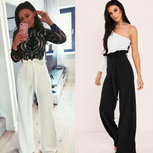 2018 New Women Ladies Trousers Palazzo Wide Leg High Waist Long Loose Casual Pants Ruffles Side Black White Pink Green