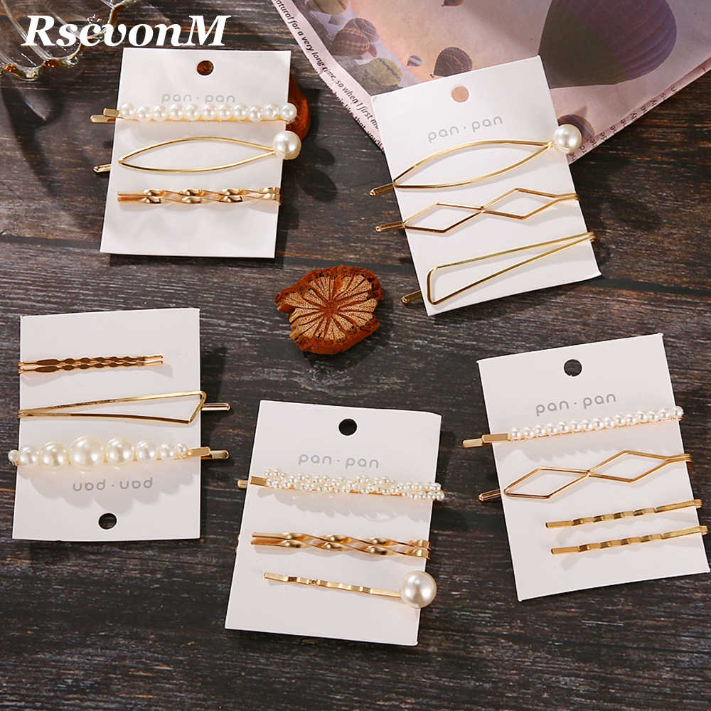 3Pcs/Set Pearl Metal Hair Clip Har Pin Set Hairband Comb Bobby Pin Barrette Hairpin Headdress Accessories Beauty Styling Tools