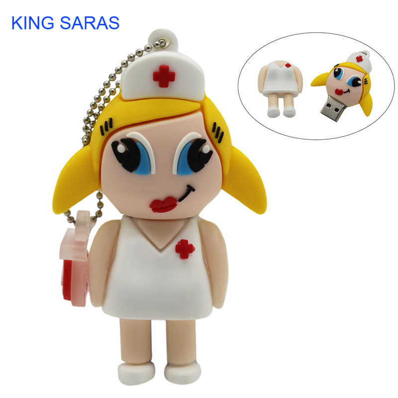 KING SARAS  Mew Style Cartoon Nurse Model Usb2.0 4GB 8GB 16GB 32GB 64GB Pen Drive USB Flash Drive Creative Pendrive