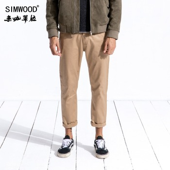 SIMWOOD 2020 spring Ankle-Length Pants Men Casual Slim Fit Fashion Trousers Male Plus Size 100% Cotton Brand Pants 180568