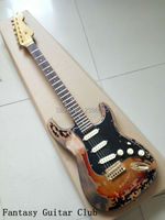 Custom Shop classical st relic guitar,master build aged st guitar vintage sunburst color retro SRV guitar high quality free ship