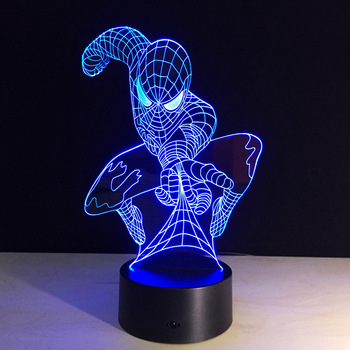 Lampe 3D Spiderman lampe Acrylique 7 Couleurs Changeantes USB lampe de Bureau