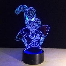 Человек-паук форма ночник 3D стерео видения лампы акрил 7 цветов Изменение USB Спальня прикроватная ночник Творческий Настольная лампа