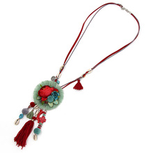 Necklace for Women Handmade Jewelry Bohemian Statement Long Necklace Flower Shells Tassel Pendant Female Accessories