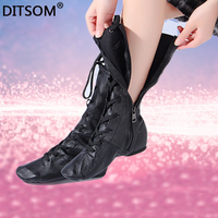 Genuine Leather High Dance Boots For Women Side Zip Ballet Yoga Fitness Jazz Dancing Shoes Students Stage Performance Shoe Girls