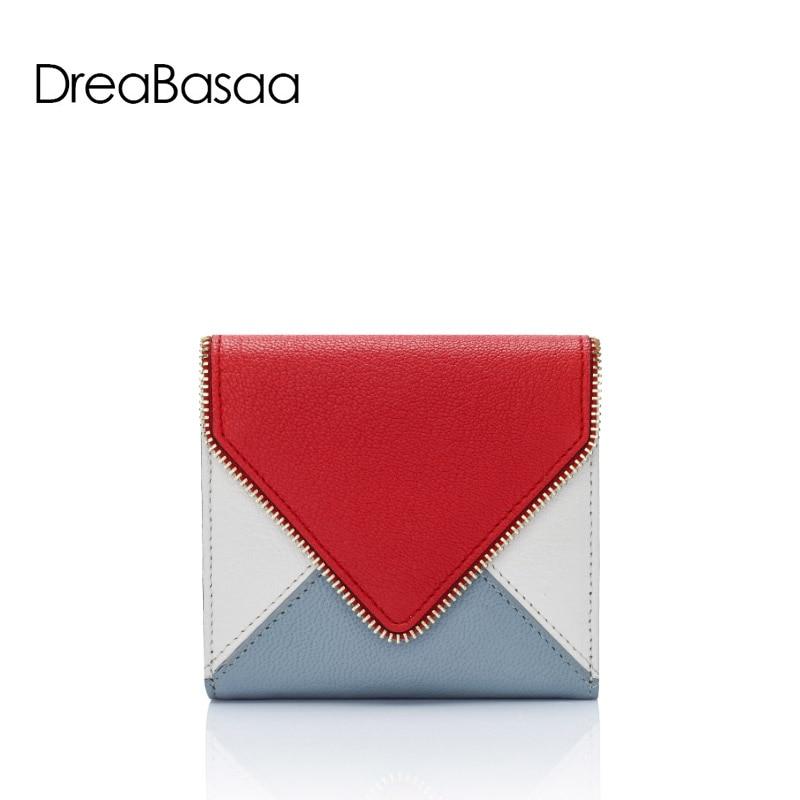 ФОТО DreaBasaa Fashion Genuine Leather Women Wallets Mini Wallet Pandlled Sheepskin Wallet Short Card Holder envelope purse feminina