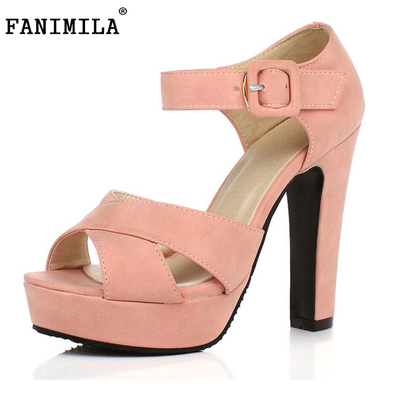 Peep Toe Ankle Strap Thick High Heel Sandals Platform Ladies Shoes Women Brand Dress Footwear Sandal Mujer size 32-43 women sandals new summer peep toe ankle strap thick high heel sandals platform high quality casual fashion shoes size 31 43