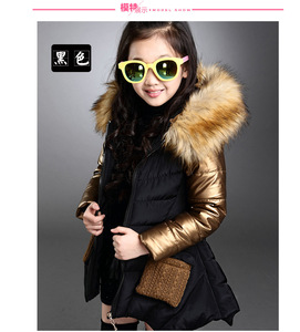 Image 4 - 4 13 years old girls winter coat childrens down jacket hooded Fur collar stitching kids Outerwear thick warm parkas fashion