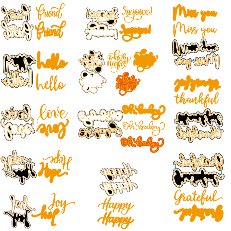 Words And Outlines Metal Cutting Dies New 2019 Stencils For DIY Scrapbooking DIY Paper Cards Craft Making Fun Decoration