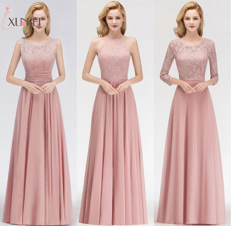 Robe demoiselle d'honneur A Line Dusty Pink Lace   Bridesmaid     Dresses   Long 2019 Maid of Honor Chiffon Wedding Party Gowns