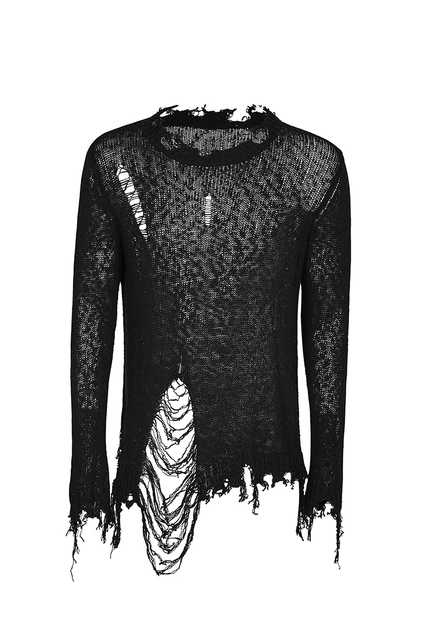 PUNK RAVE Men Punk Hole Sexy Pullover Sweater Gothic Fashion Men Personality Streetwear Punk Sweater