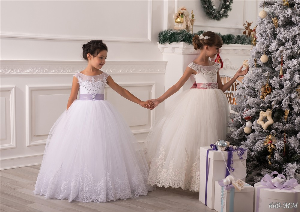 Pretty White Tulle Open Back Cheap Price   Flower     Girl     Dresses   Lace Bead Vestido de Daminha Floor Length Wedding Party Gown
