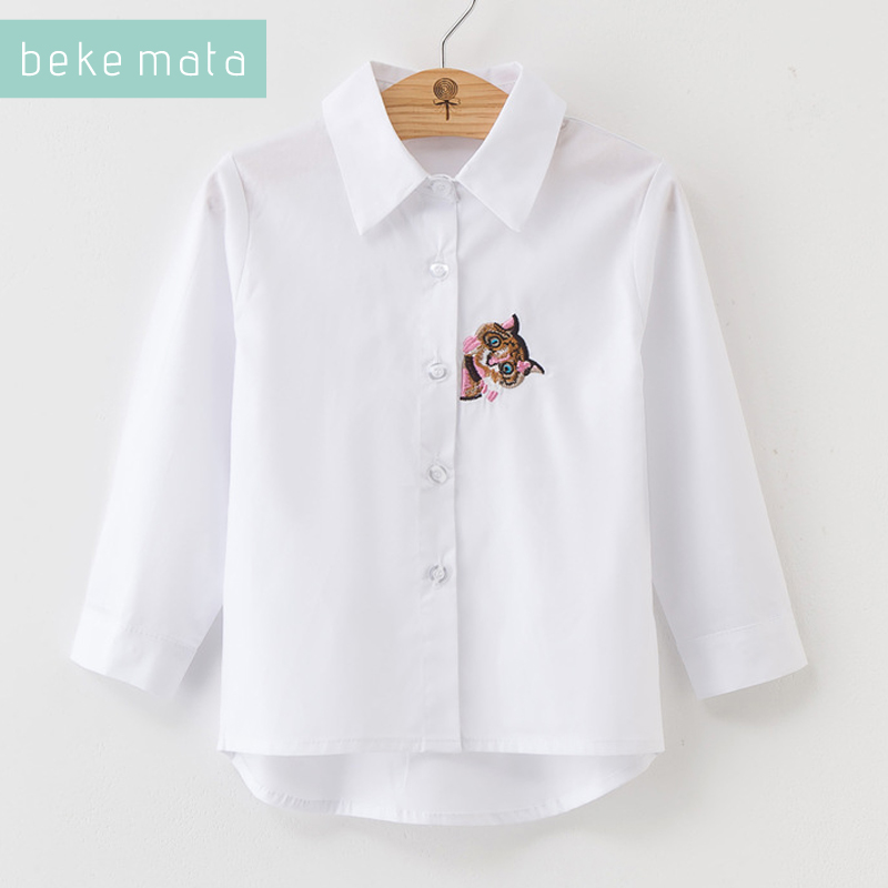 BEKE MATA White School   Blouses   For Girls Autumn 2018 Cartoon Owl Embroidery Kids Girl   Shirt   Long Sleeve Children's   Blouse   3-11Y