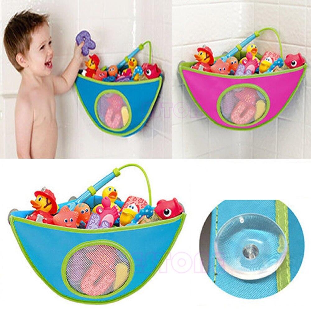 Toy Mesh Hanging Storage Bag Bath Bathtub Waterproof Toy Organizer Suction Bathroom Stuff Baby Care Home Decoration