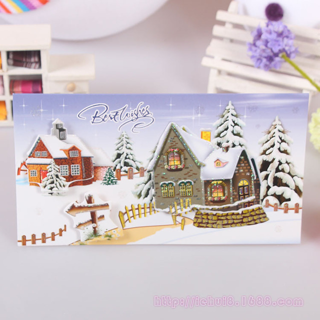 5 pcslot snow house scenery christmas blessing christmas cards 5 pcslot snow house scenery christmas blessing christmas cards gifts postcard m4hsunfo