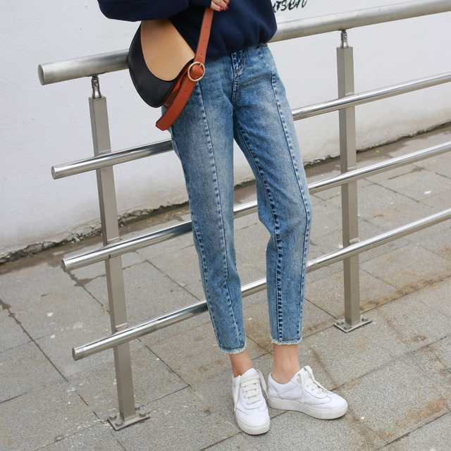 Korean students loose thin waist jeans female college wind straight burr size Haren pants XY4008