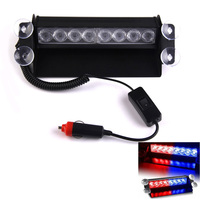 Free Shipping 8LEDs Traffic Warning Strobe Light Lamp For Construction Vehicles Red Blue ME3L