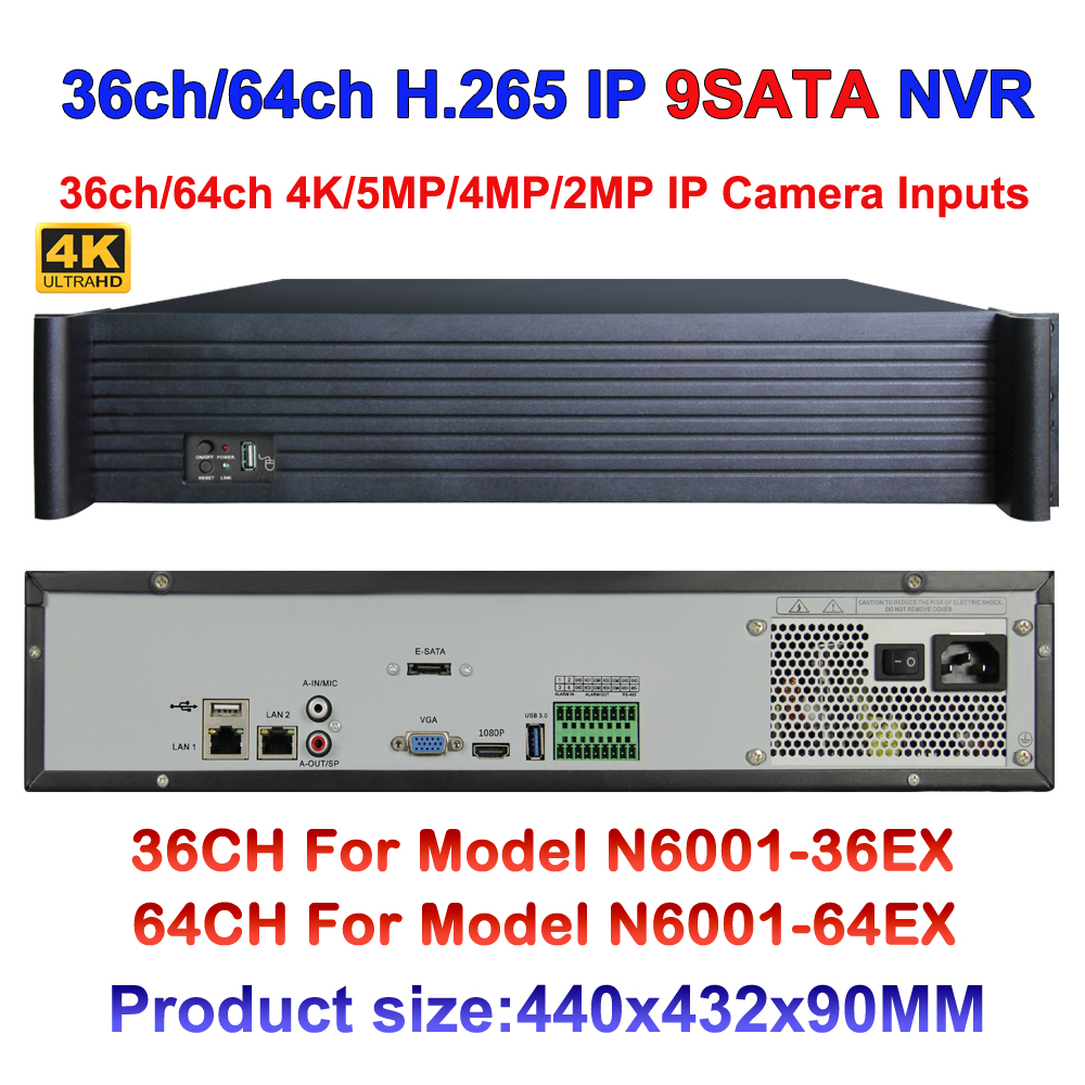 H.265 CCTV Motion Detect NVR With Audio 36ch 64ch 4K/5mp/3mp/2mp IP Security Camera Recorder with VGA HDMI Output, 9*SATA Ports
