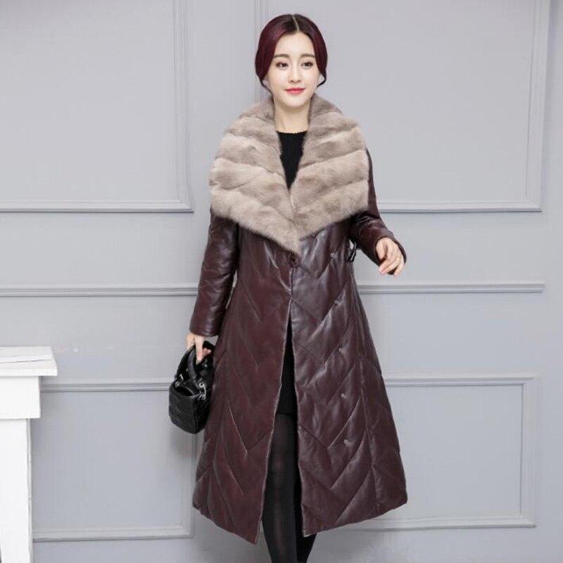 Manteau Long De D'hiver Femmes En Col Mince Faux Veste bourgogne 2018 Élégantes Cuir Nouveau Vers Pardessus Noir Le Grand Szie Duvet Fourrure Bas Canard Plus UZw5xqPCx