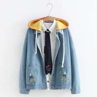 Japanese Style Women Cute Cat Embroidered Denim Jackets Autumn Long Sleeve Loose Oversize Coats Patchwork Hooded Jeans Jacket