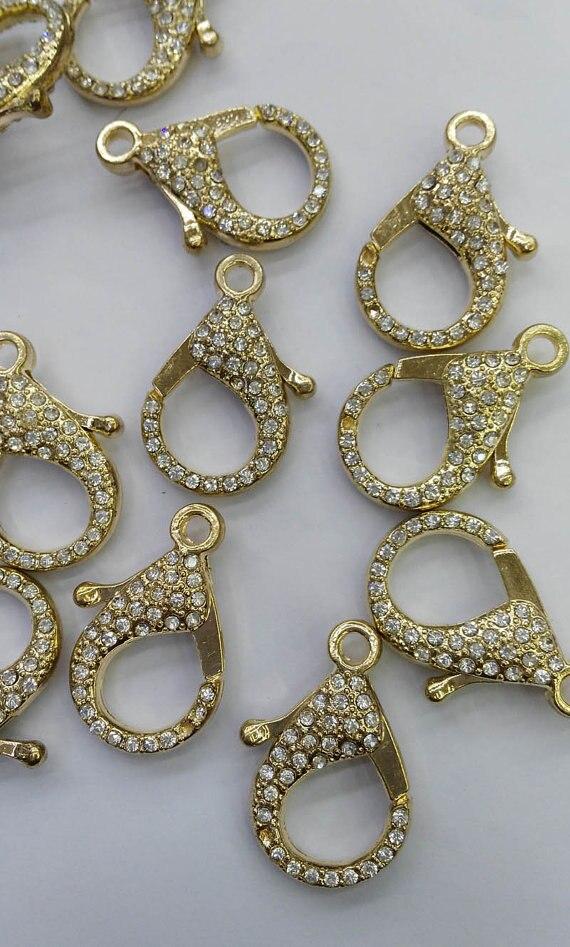 Top qualité 24 pièces 12-60mm CZ Micro Pave diamant pavé homard fermoirs résultats de bijoux, Micro Pave assortiment en laiton or Atique s - 3
