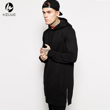 Hzijue fleece hoody plus größe hip hop lange hoodie streetwear longline seitlichem reißverschluss hoodies sweatshirts männer hoodies sweatshirts