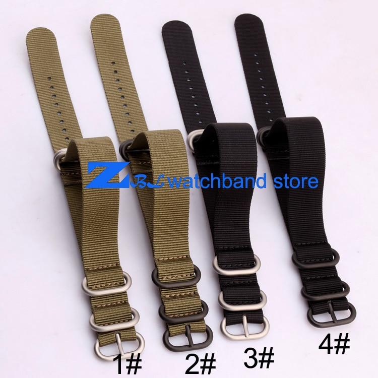 nylonový pásek s ocelovou přezkou vodotěsný nato popruh sportovní náramkové hodinky pásek 18mm 20mm 22mm 24mm 26 Černá armáda zelená barva