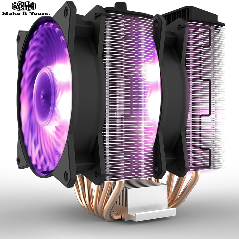 Cooler Master T620P 6 Copper Heatpipes CPU cooler for Intel and AMD CPU radiator 12cm rgb 4pin cooling CPU fan PC quiet 1u server computer copper radiator cooler cooling heatsink for intel lga 2011 active cooling