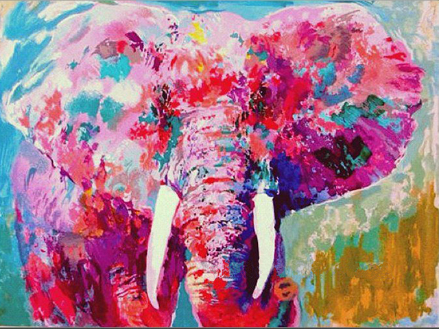 Gold Supplier Supply High Quality Pink Elephant Oil Painting On ...