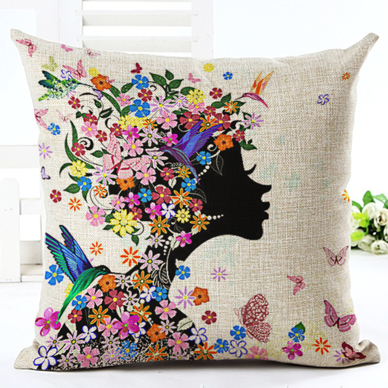 cartoon flower girl style 4545cm square home decorative pillow music note printed throw pillows - Decorative Pillows Cheap