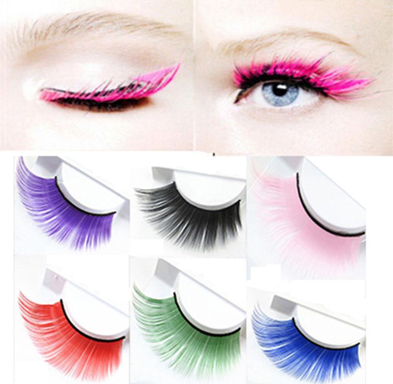 Nouvelle arrivée à la main coloré épais Plus longues faux cils Costume  Party mode Eye Lashes Extension 9cfbaadf19b9