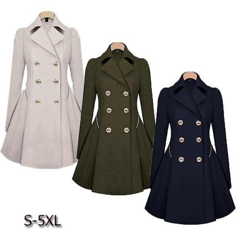 Zogaa Brand Plus Size women trench coat Autumn Women's Double breasted Warm Windbreaker Causal Long ladies trench coat female