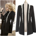 2017 Spring Women Korean Coat Pearls Fashion Pure Color Self-cultivation Cardigan Bead Decorative Coat